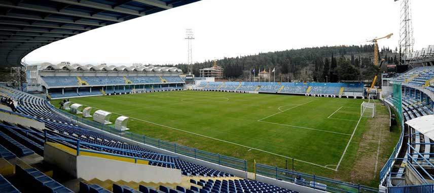Corner view of the pitch at Podgorica Stadium