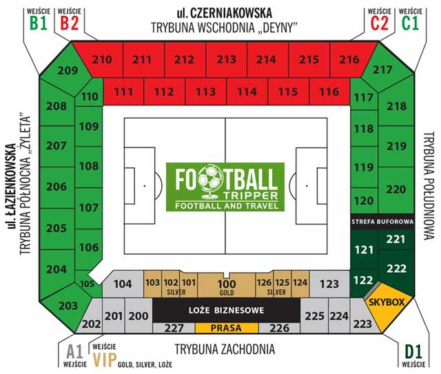 Polish Army Stadium seating map