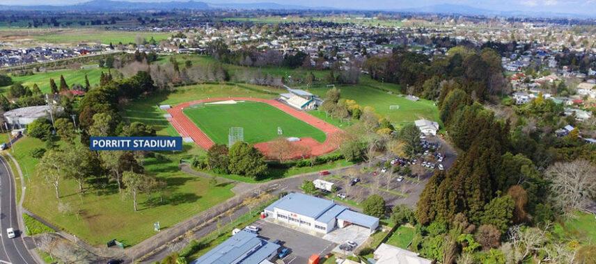 Aerial view of Porritt Stadium