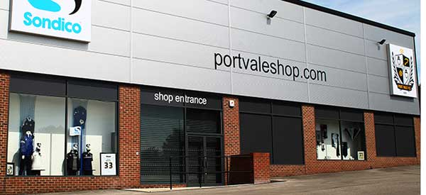 The exterior of Port Vale's club shop
