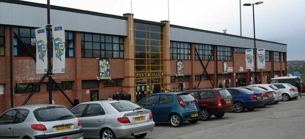 The exterior of Port Vale's main stand which you will see upon arrival.