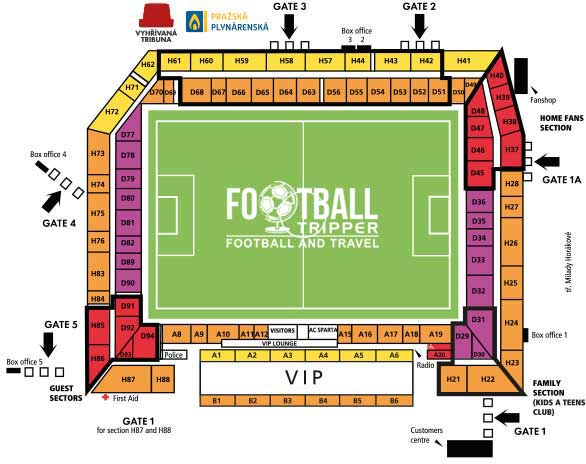 Seating chart of AC Sparta Prague's stadium