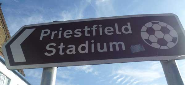 Sign for Priestfield Stadium