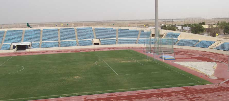 Inside an empty Prince Abdullash Stadium