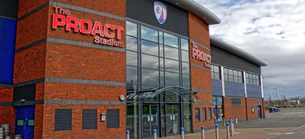 The recognisable exterior of Chesterfield's Proact Stadium.