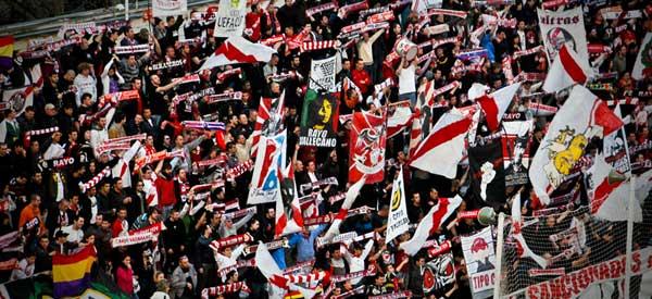 Rayo Vallecano supporters inside the stadium