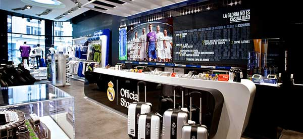 Real Madrid club shop interior.