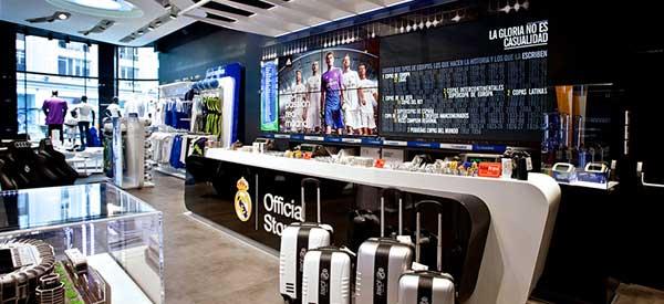 Real Madrid club shop interior.