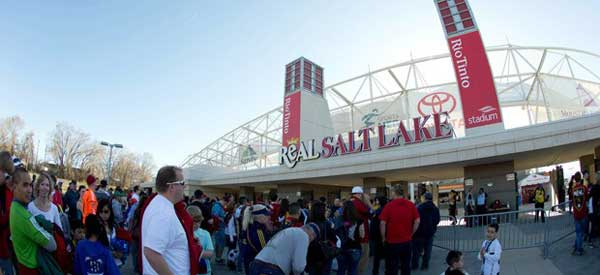 The main entrance to Real Salt Lake's stadium, Rio Tinto.