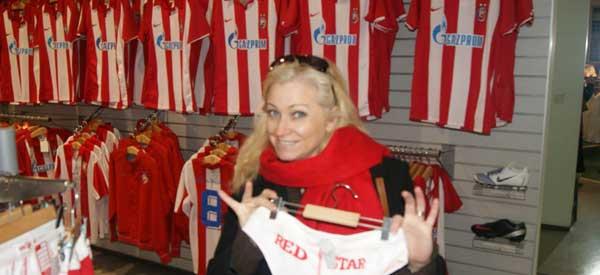 Inside Red Star Belgrade Shop