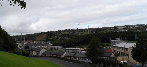 Brandwell Stadium as seen from then nearby neighbourhood. Those floodlights really stand out!