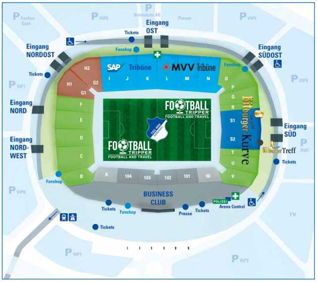 Map Of Germany Hoffenheim.Rhein Neckar Arena Tsg Hoffenheim Guide Football Tripper