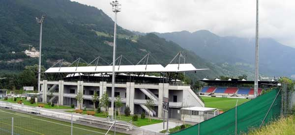 Overlooking Rheinpark stadium pitch