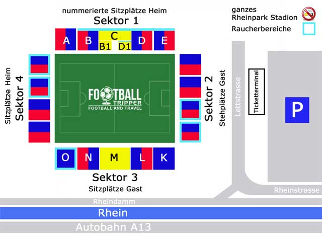 Rheinpark Stadion seating map