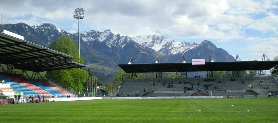 inside rheinpark stadion mountain backdrop