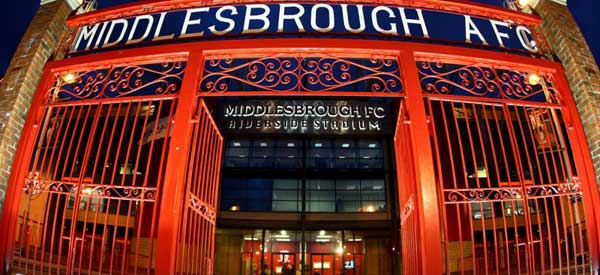 The decorative Entrance to Middlesborough's Riverside stadium.