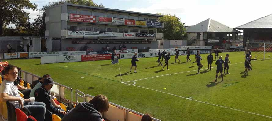 Players Warming up at Rodney Parade