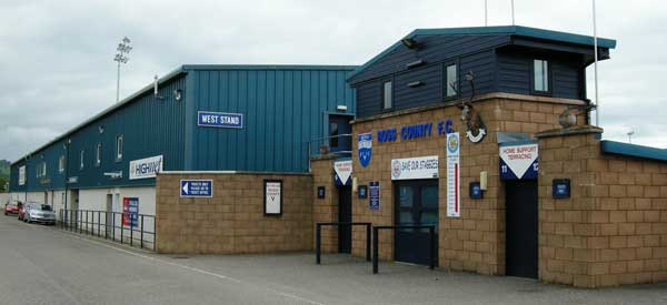 The exterior of Ross County's Victoria Park.