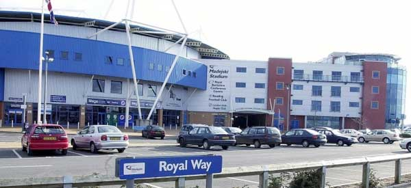 The exterior of the Madejski Stadium as taken from the Royal Way road.