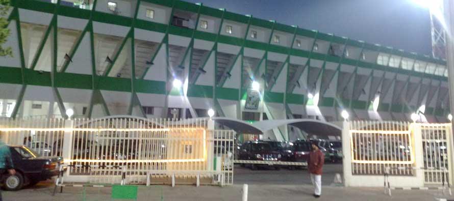 Exterior of the main stand at Sabah al Salem Stadium