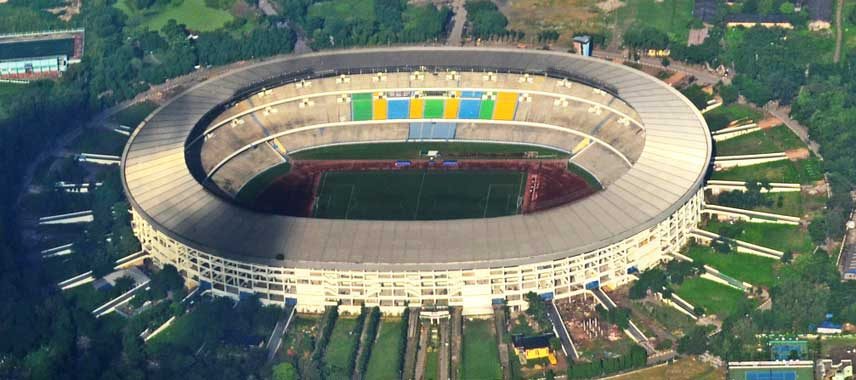 Aerial view of India's national stadium