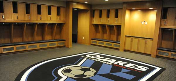 "Inside the impressive ""locker room"" of San Jose Earthuakes."
