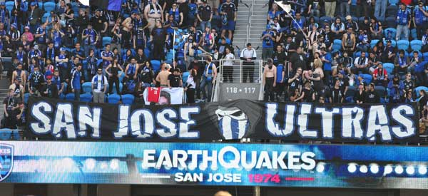 A picture of some of the fans who call themselves the San Jose Ultras. They have a great banner.