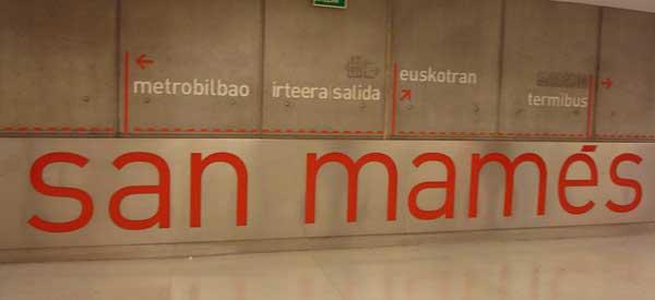 San Mames Metro Sign