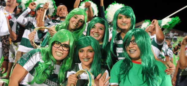 Santos Laguna supporters inside the stadium
