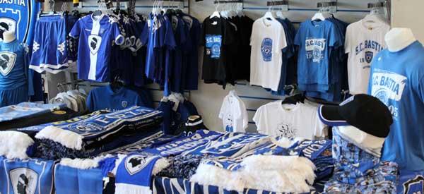 Interior of SC Bastia club shop