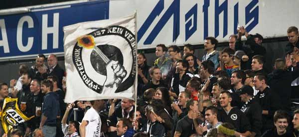 SC Rheindorf altach supporters inside the stadium