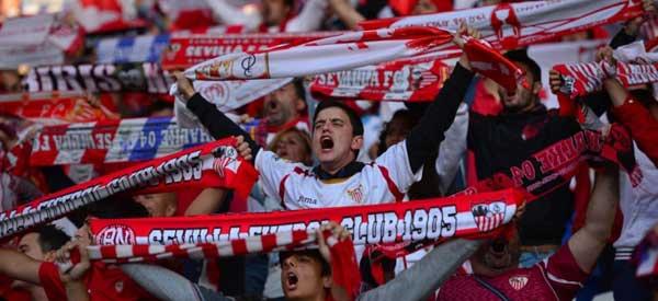 Sevilla supporters inside the stadium