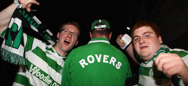 Shamrock Rovers supporters inside the stadium