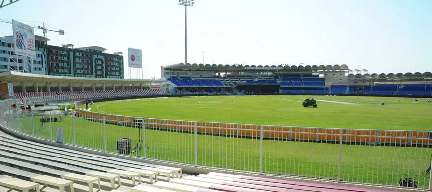 The pitch at Sharjah Cricket Stadium