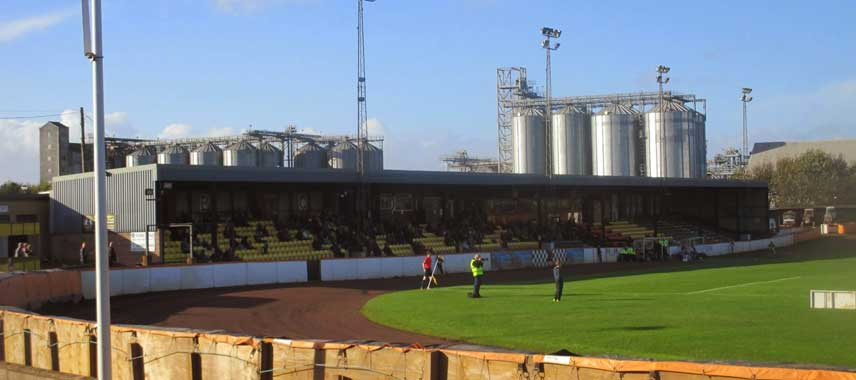 View of Shielfield Park's main stand and factory