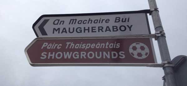 A sign depicting the way to Sligo Rovers.