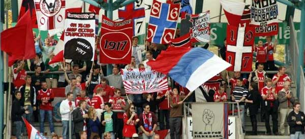 Silkeborg IF supporters inside the stadium