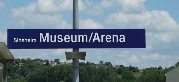 Sinsheim Museum/Arena sign.
