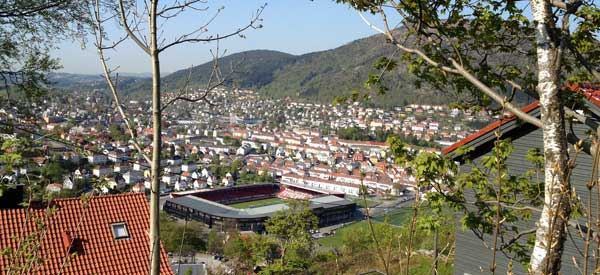 Hill view of Brann Stadion