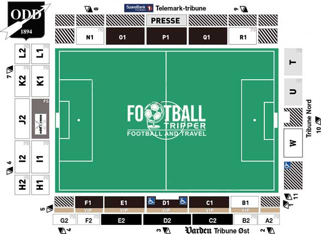 Skagerak Arena seating map