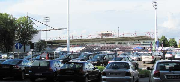 Cars parked at Skonto Stadions