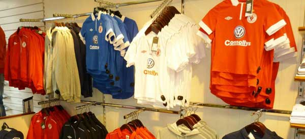 Inside the Sligo Rovers store.