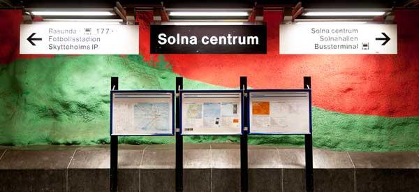 Interior sign for Solna Centrum Metro