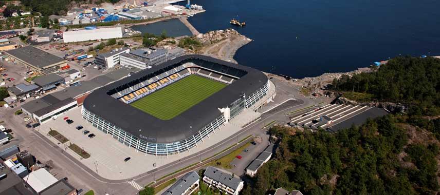 aerial view of Sparebanken Sor Arena
