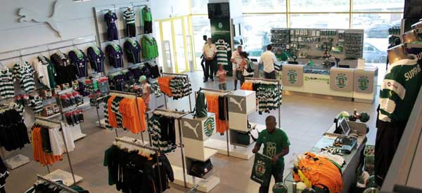 Inside sporting Lisbon club shop