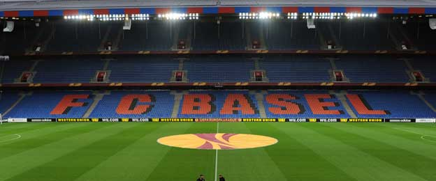 Main stand of St Jakob Park during Europa Match