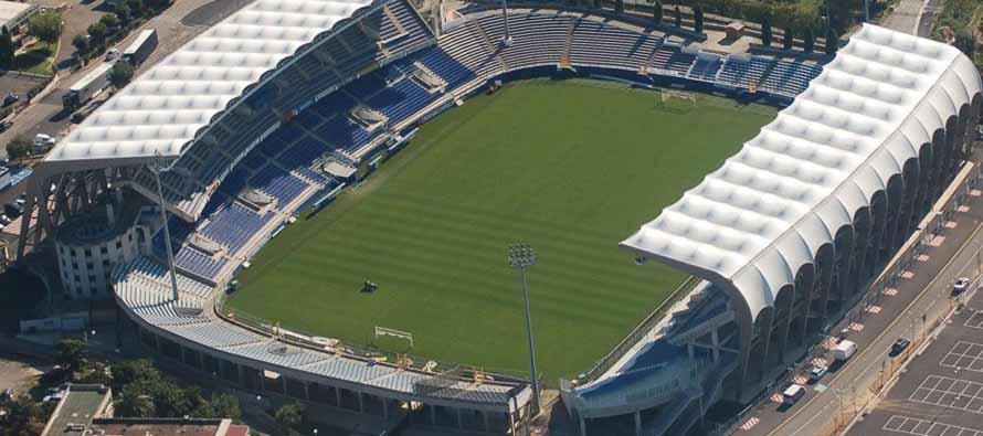 Aerial view of Stade Armand Cesari