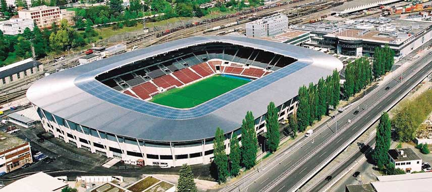 Aerial view of Geneva's Stadium
