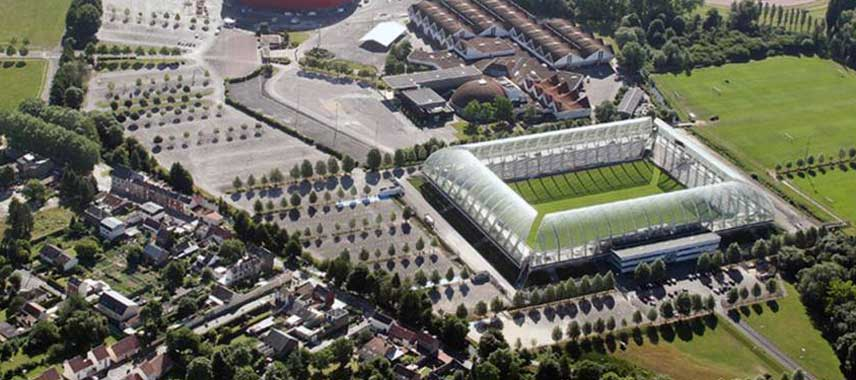 Aerial view of Stade de la licorne