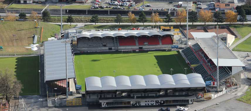Aerial view of FC Sion's Stade de Tourbillon
